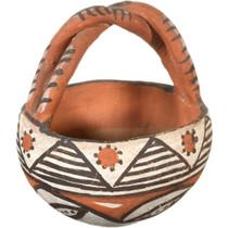 Small Isleta Polychrome Basket Pottery 40907