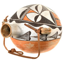 Vintage Acoma Polychrome Canteen Pottery 40908