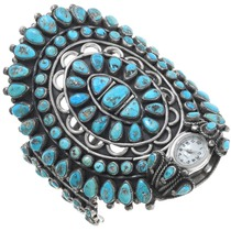 Large Navajo Turquoise Cluster Cuff Bracelet Watch 40909