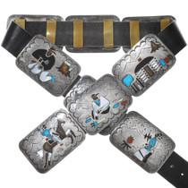 Old Pawn Inlaid Storyteller Concho Belt 40061
