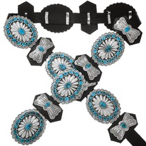 Native American Turquoise Silver Concho Belt 40920