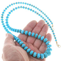 Navajo Turquoise Gold Bead Necklace 40922