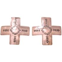 Native American Copper Cross Earrings 40923
