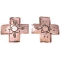 Large Navajo Copper Cross Post Earrings 40925