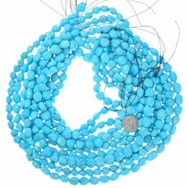 9mm Rounded Natural Turquoise Nugget Bead Strand 37238