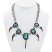 Vintage Badger Claw Turquoise Navajo Necklace 40937