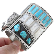 Large Turquoise Inlay Sterling Silver Zuni Watch 40939