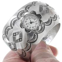 Navajo Made All Silver Watch Cuff 40942