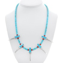 Navajo Turquoise Coral Silver Claw Necklace 40943