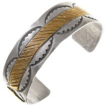 Vintage Gold Silver Navajo Cowboy Bracelet 40857