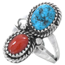 Navajo Turquoise Coral Ring 40944