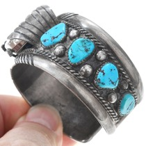 Navajo Sterling Silver Turquoise Watch Bracelet 40946