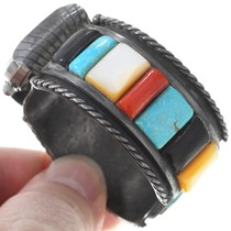Natural Turquoise Coral Shell Cobblestone Inlay Watch Bracelet 40948