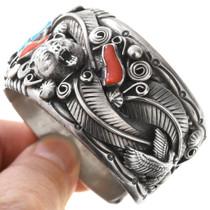 Navajo Sterling Silver Bear Buffalo Design Turquoise Bracelet 40852