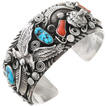 Vintage Turquoise Coral Silver Cuff Bracelet 40852