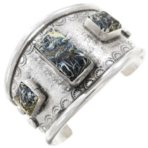 Spiderweb Turquoise Sterling Silver Cuff Bracelet 40818
