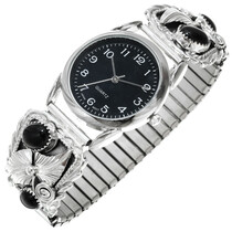 Native American Sterling Silver Onyx Mens Watch 40954