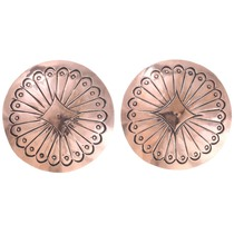 Navajo Made Copper Concho Earrings 40958