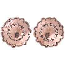 Big Native American Copper Earrings 40959