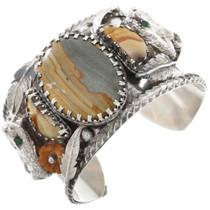 Vintage Picture Jasper Silver Snake Cuff Bracelet 40816