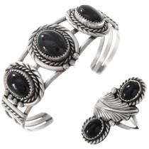 Vintage Black Onyx Silver Navajo Bracelet Ring Set 40861