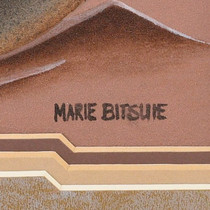 Authentic Navajo Sand Painting Artist Marie Bitsuie Signed 40973