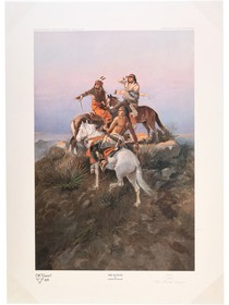 """""""The Scouts"""" Vintage Charles M Russell Color Print 40975"""