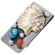 Native American Indian Chief Turquoise Money Clip 40988