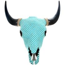 Large Turquoise Magnesite Covered Buffalo Skull 40933