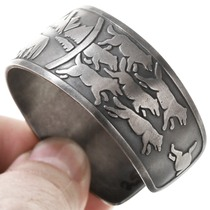 Vintage Southwest Silver Wolf Cuff Bracelet 40858