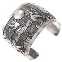 Large Sterling Silver Navajo Storyteller Bracelet 40801