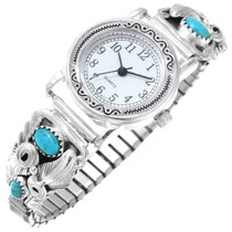 Native American Turquoise Silver Watch 40992