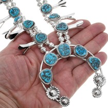 Sterling Silver Arizona Turquoise Navajo Squash Blossom Necklace 40994