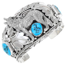Turquoise Sterling Silver Howling Wolf Bracelet 40894