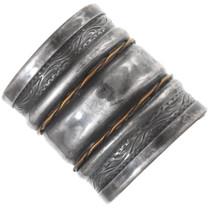 Vintage Southwest Silver Gold Cuff Bracelet 40893