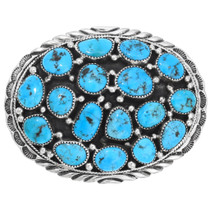 Natural Turquoise Sterling Silver Belt Buckle 40998