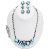 Navajo Golden Hills Turquoise Necklace Jewelry Set 40999