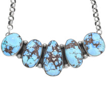 Spiderweb Turquoise Sterling Silver Necklace 40999