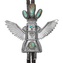 Old Pawn Navajo Turquoise Kachina Bolo Tie 41006