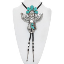 Vintage Turquoise Sterling Silver Kachina Bolo Tie 41008
