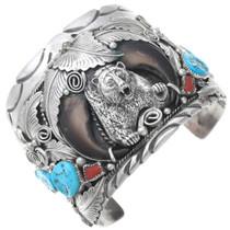 Vintage Turquoise Bear Claw Sterling Silver Bracelet 41010