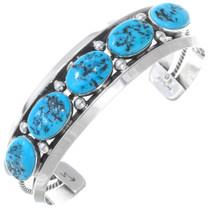 Navajo Five Stone Sterling Silver Bracelet 41017
