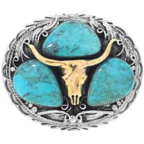 Genuine Turquoise Silver Gold Longhorn Belt Buckle 41026