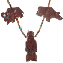 Native American Hand Carved Pipestone Fetish Necklace 41034