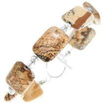 Matching Beaded Jasper Tennis Bracelet Necklace Set 41036