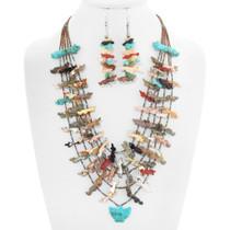 Vintage Zuni Hand Carved Fetish Necklace Earrings Set 41037