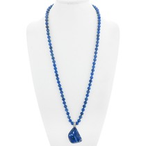 Blue Sodalite Silver Pendant Bead Necklace 41038