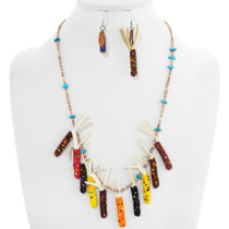 Vintage Native American Beaded Corn Necklace Set 41039