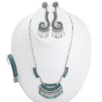 Vintage Zuni Needlepoint Turquoise Necklace Jewelry Set 41040