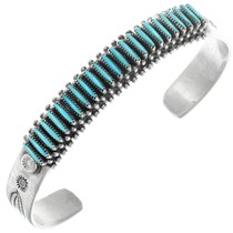 Sleeping Beauty Turquoise Needlepoint Bracelet Artist Bryant Waatsu Signed 41040